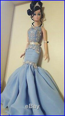 The Soiree Barbie Blue Gown Silkstone Fashion Model NRFB 2007 Gold Label